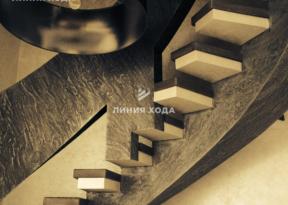 Монолитная лестница на второй этаж с бетонным ограждением ООО ЛИНИЯ ХОДА Проект 002_05 в отделке